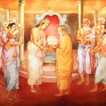 Picture in the Temple of Sacred Tooth Buddha on Sri Lanka on which it is represented: The Arahath Kema presented King Brahmadatta of Kalinga with the Sacred Tooth Relic for veneration