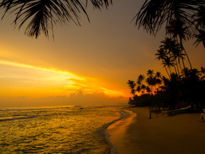 Beautiful tropical sunset on a beach in Sri Lanka