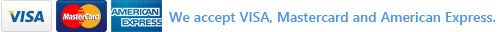 We accept VISA, Mastercard and American Express.